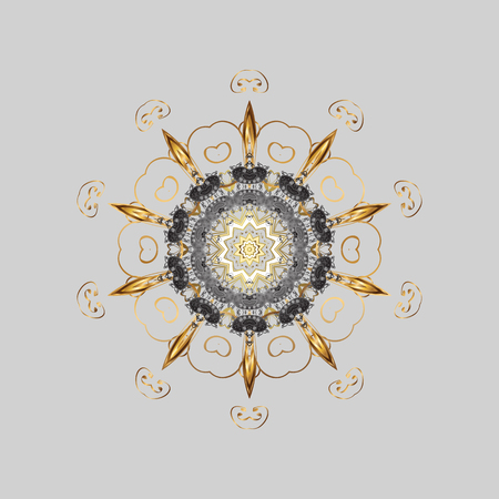 For the Christmas design and decoration. Watercolor painting effect. Ornamental pattern with golden snowflakes, doodles and dots in colors on gray background. Handmade drawing.