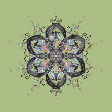 Vector illustration. Snowflake doodle graphic hand-drawn. Colorful snowflakes for christmas winter design.