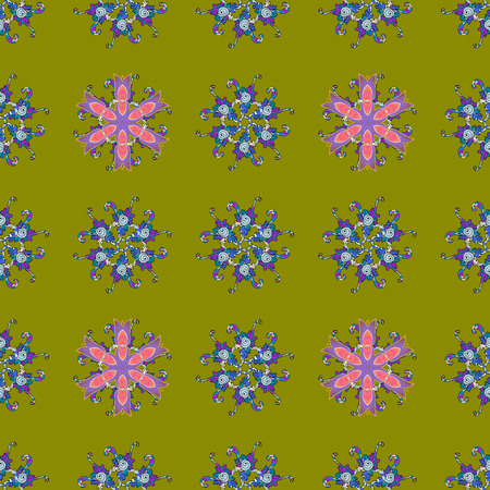 Beautiful fabric pattern. Seamless flowers pattern. Flat Flower Elements Design. In asian textile style. Colour Spring Theme seamless pattern Background. Vector illustration.