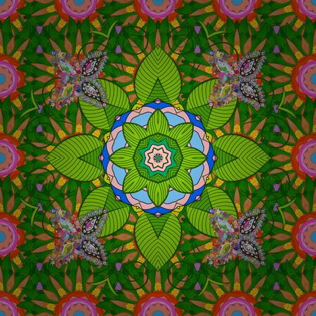 baroque: Vector Ethnic Oriental Circle Ornament. Islam, Arabic, Indian, ottoman motifs on a colorful background. Flower Mandala seamless pattern.