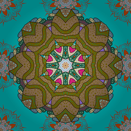 Vector colored Mandala. Ornament invitation card Vintage decorative elements on a colorful background. Tribal, Boho, Bohemian style, for flash tattoo. Illustration
