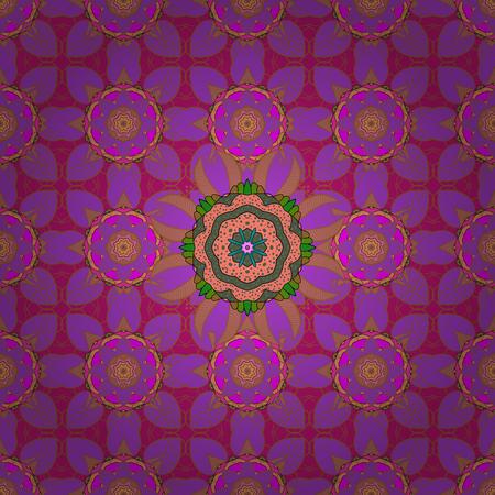 かわいい花のベクトル パターン。フラット フラワー要素デザイン。カラフルな背景の花。シームレス色春テーマのシームレスなパターン背景。