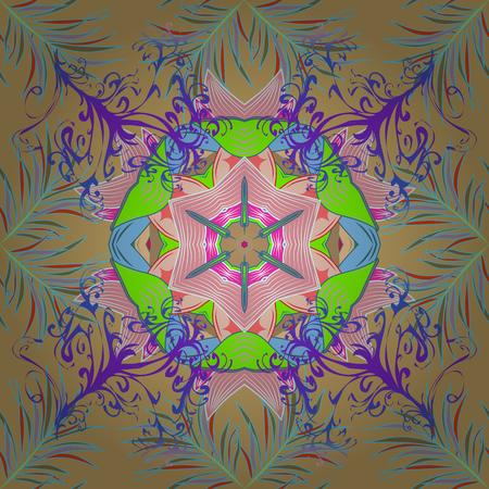 linearity: Islam, Arabic, Indian, ottoman motifs on a colored background. Flower Mandala seamless pattern. Vector Ethnic Oriental Circle Ornament.