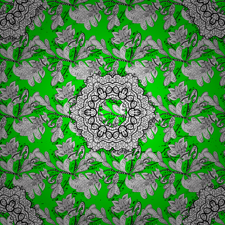 baroque: Christmas, snowflake, new year. Vintage pattern on green and white background with white elements.
