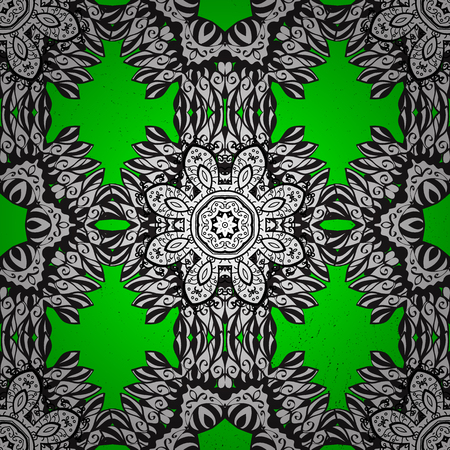 baroque: Ornate vector decoration. Damask white green and white floral flower pattern background on vector.