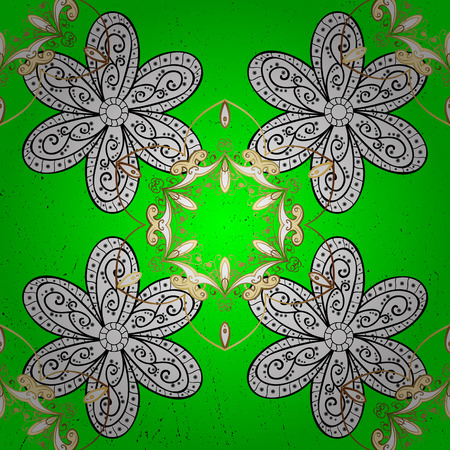 Floral pattern. Stylish graphic pattern. Golden elements on green background. Vector background. Sketch baroque, damask.