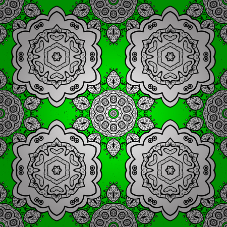 Oriental ornament in the style of baroque. Traditional classic vector white pattern. Green and white background with white elements.