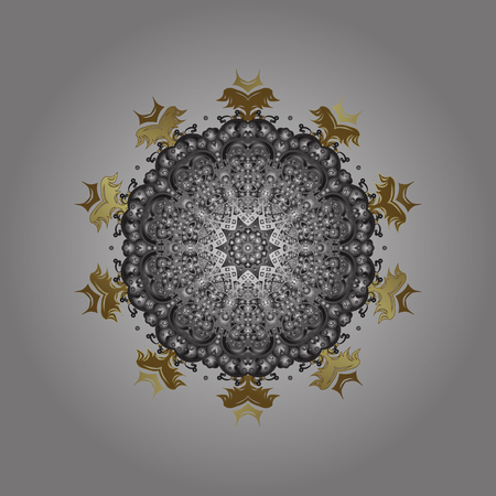 Simple snowflakes ornamental pattern, floral elements, decorative ornament. Ornamental pattern on gray background. Arab, Asian, ottoman motifs in colors. Vector illustration. Illustration