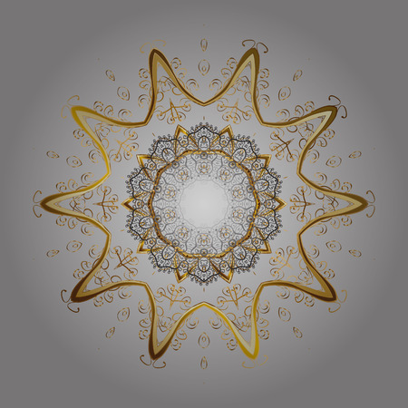 Vector abstract design in colors. Ornamental pattern of golden snowflakes and dots on gray background. Illustration