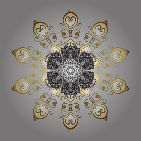 Hand painted pattern. Vector ornamental pattern with abstract hand drawn golden snowflakes design on a black background.