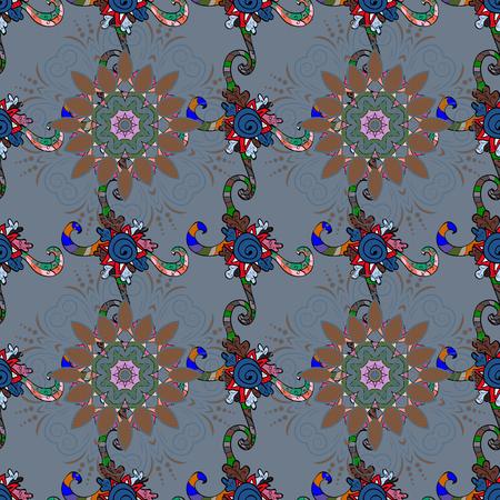 ベクトル図のシームレス花柄カラフルな背景。美しいファブリックのパターン。ベクトルの図。