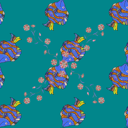 Ink drawn style. Vector illustration. Of a seamless fish pattern in colors. Illustration