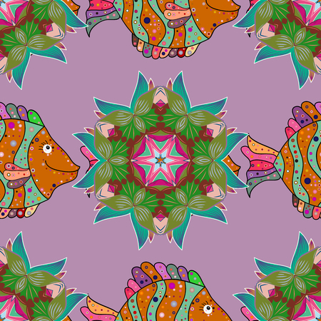 Sea fish on colored background. Illustration
