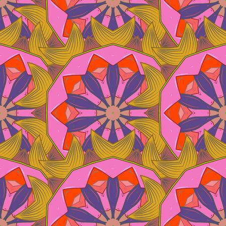Vector Schablonengrußkarte, Einladung und Werbungsfahne, Broschüre auf einem rosa Hintergrund. Vintage Einladung oder Hochzeitskarte mit Mandalamuster und eleganten Florenelementen. Standard-Bild - 82625707