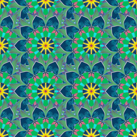 Seamless pattern with abstract ornament. Seamless pattern with Mandalas. Vector ornaments, background. Çizim