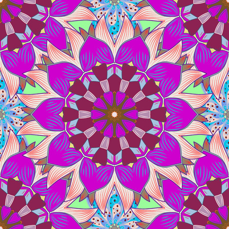 Trendy seamless floral pattern. Vector illustration with many blue flowers.