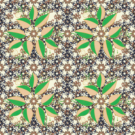 Beautiful fabric pattern. Vector illustration. Hand drawn. Doodle leaves and branches, herbs and leaves.