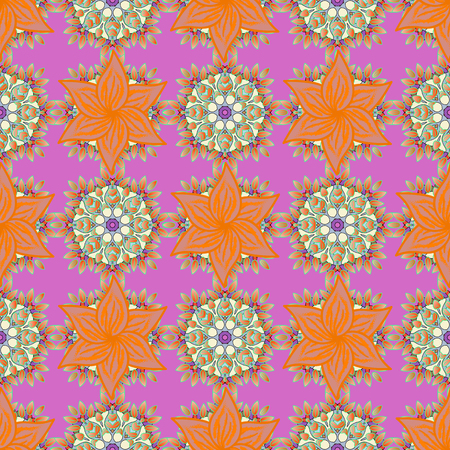 Multicolor ornament of small simple pink flowers, vector abstract seamless pattern for fabric or textile design.