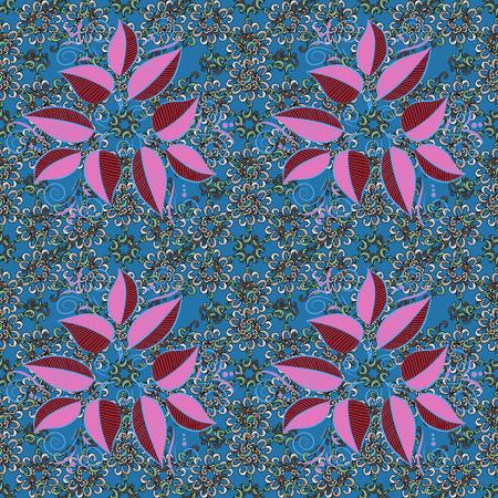 Colour Spring Theme seamless pattern Background. Flat Leaf Elements Design Vector illustration. Floral seamless pattern background. Leaves on colorful background.
