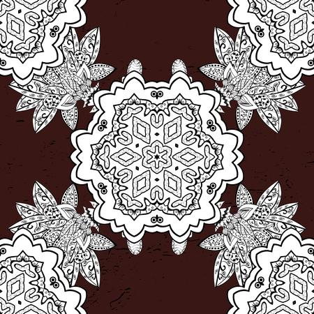 postcard: White mandala on a brown background. For invitation card, scrapbook, banner, postcard, tattoo, yoga, boho, magic, carpet, tile or lace. Decorative vector ornate colored mandala icon for card. Illustration