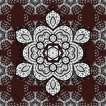 foil: Vector Mandala colored on brown background. Tribal, ethnic texture. Orient, symmetry lace, meditation symbol. Arabic Vintage decorative ornament. East, Islam, Thai, Indian, ottoman. Mandala pattern.