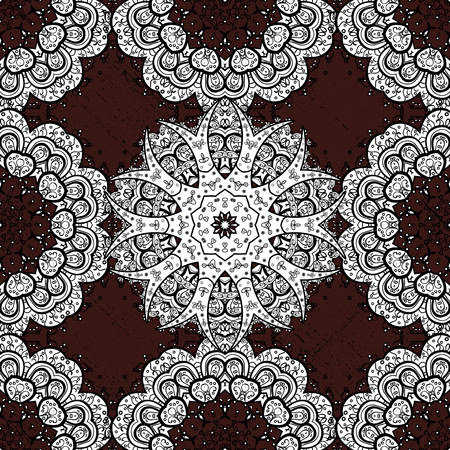 Brown background. Mandala vector floral flower oriental coloring book page outline template carpet. Seamless pattern with flowers. Illustration