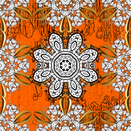 Oriental ornament in the style of baroque. Traditional classic vector white pattern. Orange and white background with white elements.