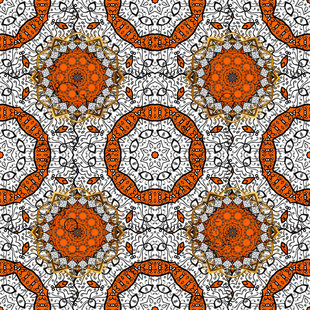 baroque: Royal luxury white baroque damask vintage. Vector pattern background sketch with white antique floral medieval decorative 3d flowers, leaves and white pattern ornaments. Orange on background.
