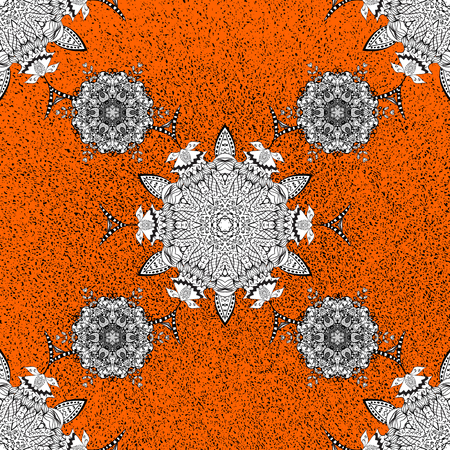 baroque: Paisleys elegant floral vector pattern background sketch illustration with vintage stylish beautiful modern 3d line art gray and orange paisley flowers leaves and ornaments.