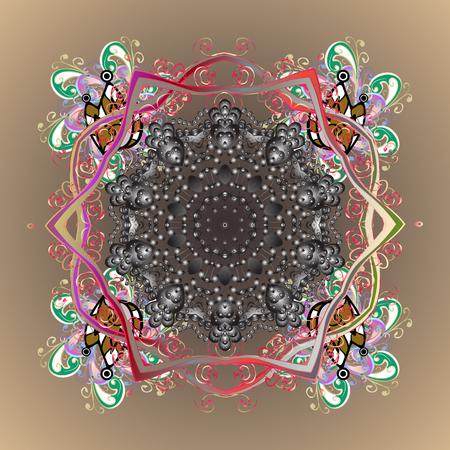Conception abstraite de vecteur. Motif ornemental de flocons de neige stylisés et des points sur fond coloré. Banque d'images - 82589708