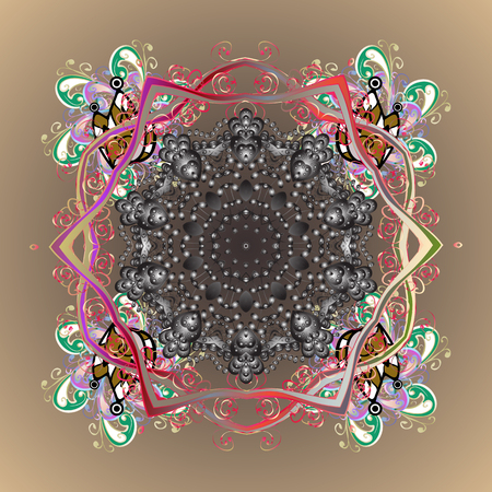 Vector abstract design. Ornamental pattern of stylized snowflakes and dots on colorful background.