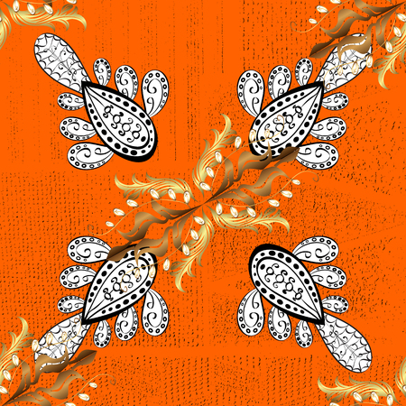 Vector oriental ornament. White pattern on orange roughness background with white elements. White pattern.