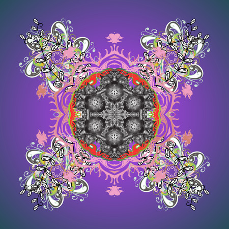 leaden: Isolated of vector snowflake. Fine winter ornament. Colorful snowflakes Vector illustration.