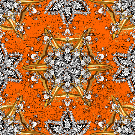 Traditional arabic decor on orange and white background. Ornamental lace tracery. Vintage design element in Eastern style. Vector pattern with floral ornament. White ornate illustration for sketch.