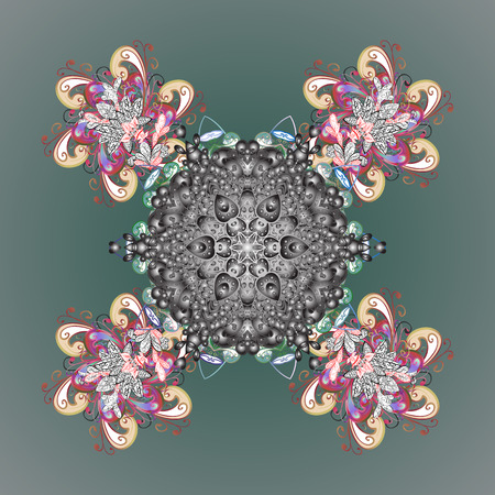 Vector ornamental pattern with abstract hand drawn snowflakes design on a background. Hand painted pattern.