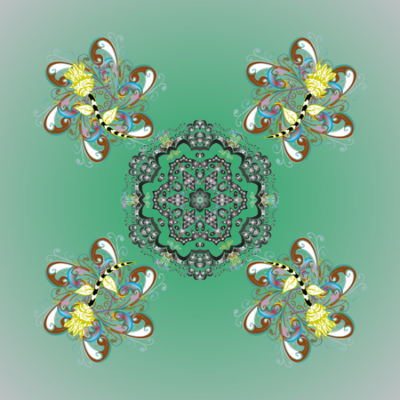 Simple snowflakes colorful pattern, floral elements, decorative ornament. Vector illustration. Colorful pattern on colors background. Arab, Asian, ottoman motifs.