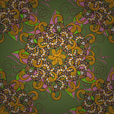 Mandala vector floral flower oriental coloring book page outline template carpet. Seamless pattern with flowers. Background. Illustration