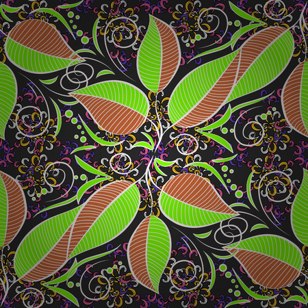 Vector Floral Illustration in cute textile. Elegance seamless pattern with ethnic leaves on colorful background.