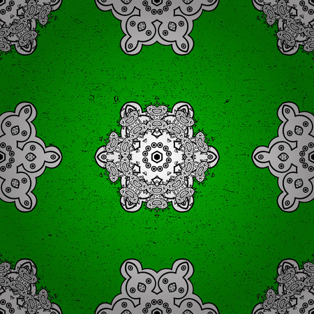 baroque: Elements on green and white background. Damask pattern repeating background. White green and white floral ornament in baroque style.
