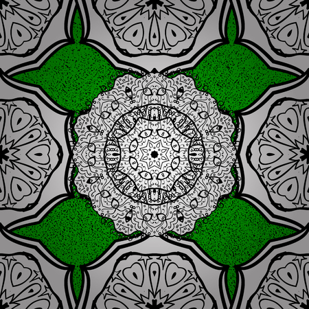 Vector white pattern. Oriental style arabesques. Green background with white elements. White roughness textured curls.