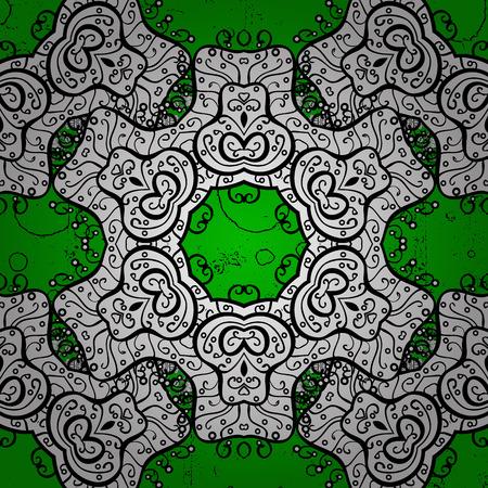 Vector illustration for invitations, cards, certificate. Vector line art border for design template. White outline floral decor. Eastern style element. White element on green background. Illustration