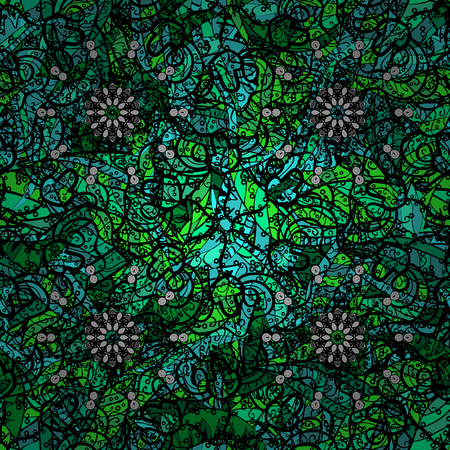 Hand drawn sketch on green background. Vector seamless pattern tile with mandalas. Vintage decorative elements. Islam, Arabic, Indian, ottoman motifs. Perfect for printing on fabric or paper.