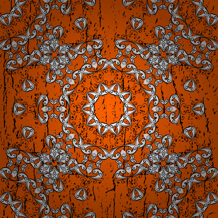Oriental style arabesques. Colored pattern on orange background with white elements. White textured curls. Illustration