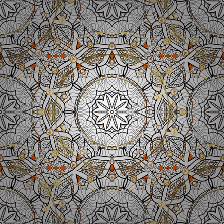 baroque: Royal luxury white baroque damask vintage. Vector pattern background sketch with golden antique floral medieval decorative 3d flowers, leaves and white pattern ornaments. Orange and white.