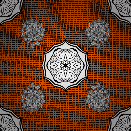 ?attern on orange and white roughness background with white elements. Vector pattern. Oriental style arabesques. White textured curls. Illustration