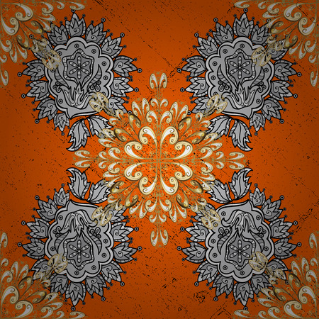 foil: Classic vector white pattern. Floral ornament brocade textile pattern, glass, metal with floral pattern on orange and white background with white elements.