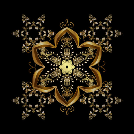 nobby: Illustration. Snowflakes, snowfall. Beautiful vector golden snowflakes isolated on black background. Falling Christmas stylized gold snowflakes.
