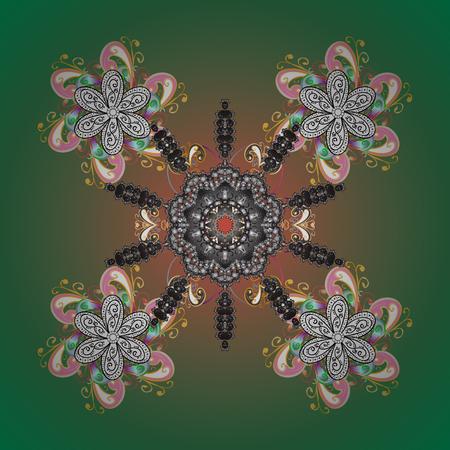 Snowflake Vector illustration. Snowflake Icon. Vector illustration. Snowflake isolated on green background. Illustration
