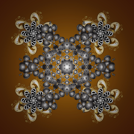 quadratic: Vector design. Christmas Stylized Snowflakes on a brown Background. Seamless Repeating Pattern. Illustration