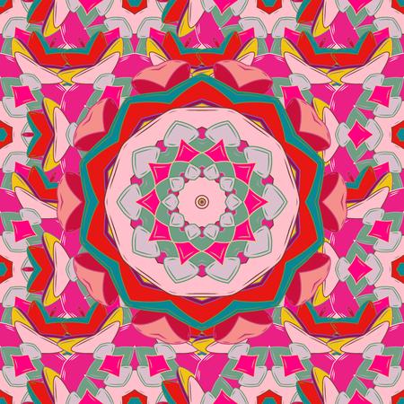 Vector illustration. Mandala style. Rich ethnic striped seamless pattern geometric design. Colored mandala on colorful background.